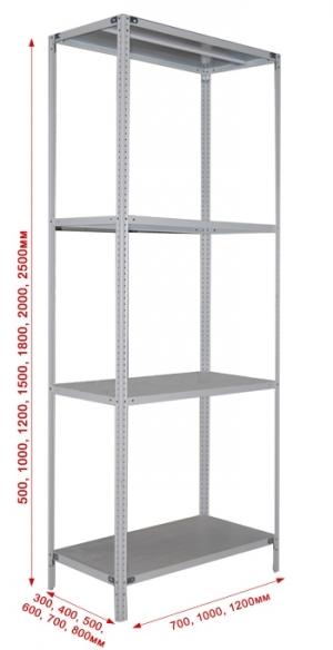 Стеллаж металлический сборный 244-2.5 купить на выгодных условиях в Волгограде